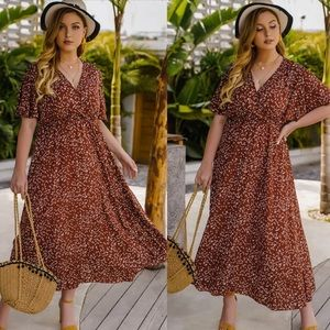 Plus size floral print V neck maxi dress